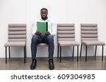 man waiting for interview job... | Shutterstock . vector #609304985