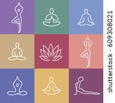vector yoga icons and round... | Shutterstock .eps vector #609308021