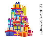 big pile of colorful wrapped... | Shutterstock .eps vector #609308159