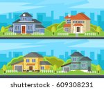 set of colorful houses. street... | Shutterstock .eps vector #609308231