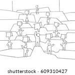 crowd of little people with... | Shutterstock .eps vector #609310427