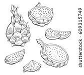 pitaya dragon fruit graphic... | Shutterstock .eps vector #609315749
