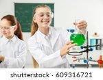 beautiful scared school girl... | Shutterstock . vector #609316721