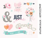 love stickers. signs  symbols ... | Shutterstock .eps vector #609322949