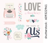 love stickers. signs  symbols ... | Shutterstock .eps vector #609322961