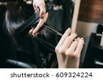 scissors cut the girls hair ... | Shutterstock . vector #609324224