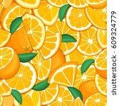ripe juicy tropical orange... | Shutterstock .eps vector #609324779