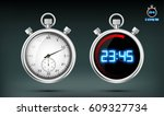 set of sports stopwatches.... | Shutterstock .eps vector #609327734