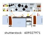 chef on the kitchen on white... | Shutterstock .eps vector #609327971