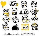 panda doodle kid set. simple... | Shutterstock .eps vector #609328205