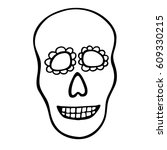 hand drawn skull. vector... | Shutterstock .eps vector #609330215