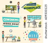 modern workplaces. creative... | Shutterstock .eps vector #609333125