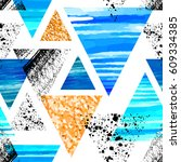 abstract watercolor triangle... | Shutterstock .eps vector #609334385