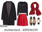 lady fashion set of autumn ... | Shutterstock .eps vector #609336155