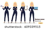 young cartoon businesswoman set....
