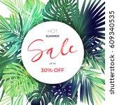 green summer tropical... | Shutterstock .eps vector #609340535