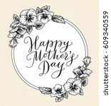 happy mothers day card with... | Shutterstock .eps vector #609340559