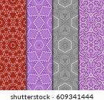 set of 4 seamless vector... | Shutterstock .eps vector #609341444