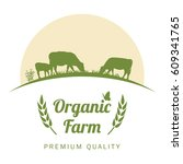 organic farm label with cows... | Shutterstock .eps vector #609341765