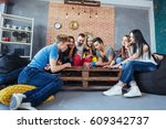 group of creative friends... | Shutterstock . vector #609342737