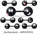 funny  dumbbell with cute face... | Shutterstock .eps vector #609345551