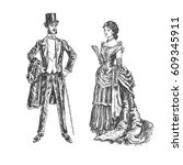 victorian lady and gentleman.... | Shutterstock .eps vector #609345911