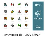 outline color icons set in thin ... | Shutterstock .eps vector #609345914