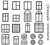 set of black window icons... | Shutterstock .eps vector #609348161