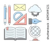 linear style icons. education... | Shutterstock .eps vector #609349121