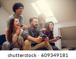 group of excited friends... | Shutterstock . vector #609349181