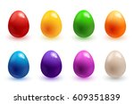 easter eggs 3d icons. colorful... | Shutterstock .eps vector #609351839