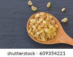 wooden spoon of aromatic yellow ... | Shutterstock . vector #609354221