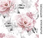 seamless pattern with pink... | Shutterstock . vector #609354281
