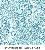 Abstract sea waves background. Ethnic seamless pattern ornament. Vector pattern.  Ocean. | Shutterstock vector #609357155