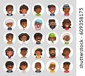 set of 25 flat african american ... | Shutterstock .eps vector #609358175