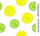 summer background. lemon and... | Shutterstock . vector #609359831
