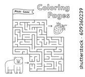 cartoon bear maze game. vector... | Shutterstock .eps vector #609360239