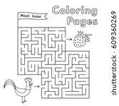 cartoon rooster maze game.... | Shutterstock .eps vector #609360269