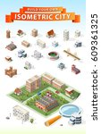 build your own isometric city . ... | Shutterstock .eps vector #609361325