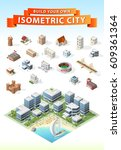 build your own isometric city . ... | Shutterstock .eps vector #609361364