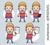 cute cartoon character. funny... | Shutterstock .eps vector #609365651