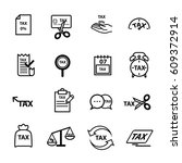 tax icons set | Shutterstock .eps vector #609372914