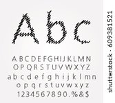 hand drawn font with doodle... | Shutterstock .eps vector #609381521