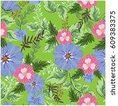 vector seamless pattern flowers ... | Shutterstock .eps vector #609383375
