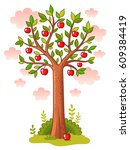 apple tree stands in the meadow.... | Shutterstock .eps vector #609384419