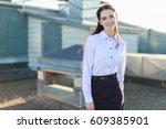 blurred roof on background ... | Shutterstock . vector #609385901