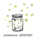 Stock vector fireflies flying around the jar in hand drawing 609393587