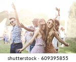 enthusiastic crowd surfing at... | Shutterstock . vector #609395855