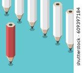 red unique pencil standing...   Shutterstock .eps vector #609397184