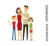 family   coloured vector modern ... | Shutterstock .eps vector #609400001